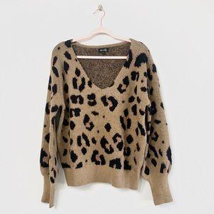 Dee Elly Leopard Ballon Sleeve Soft Knit Sweater